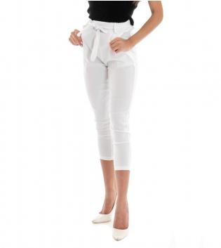 Pantalone Donna Lungo Tinta Unita Bianco Elastico Tasca America GIOSAL
