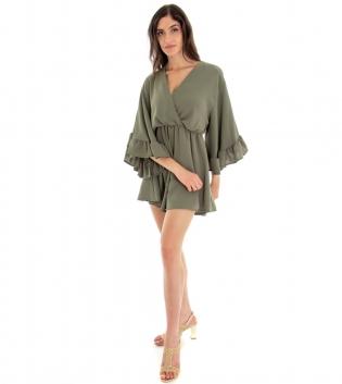 Tuta Donna Vestitino Tinta Unita Verde Corta Pantaloncino  Scollo a V Volant GIOSAL-Verde-TAGLIA UNICA