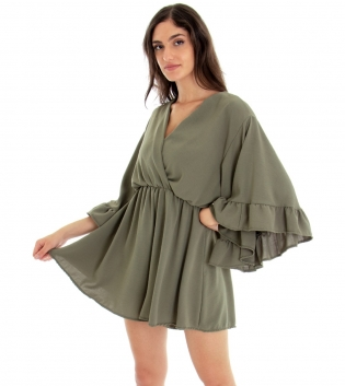 Tuta Donna Vestitino Tinta Unita Verde Corta Pantaloncino  Scollo a V Volant GIOSAL