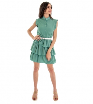 Vestitino Donna Corto Gonna Balze Tinta Unita Verde GIOSAL-Verde-TAGLIA UNICA