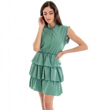 Vestitino Donna Corto Gonna Balze Tinta Unita Verde GIOSAL