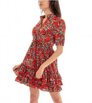 Vestito Donna Abito Corto Fantasia Fiori Floreale Rosso Maniche Corte GIOSAL