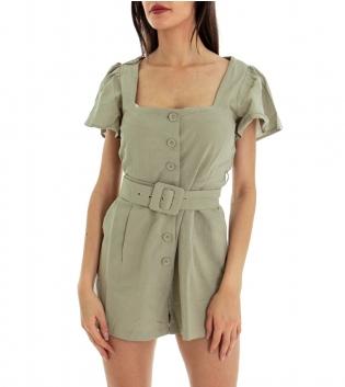 Tutina Donna Tinta Unita Verde Vestitino Maniche Corte Cintura Bottoni GIOSAL-Verde-M