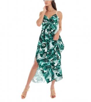 Vestito Donna Lungo Fantasia Foglie Spalline Verde Scollo a V GIOSAL-Verde-TAGLIA UNICA