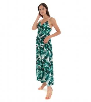 Vestito Donna Lungo Fantasia Foglie Spalline Verde Scollo a V GIOSAL