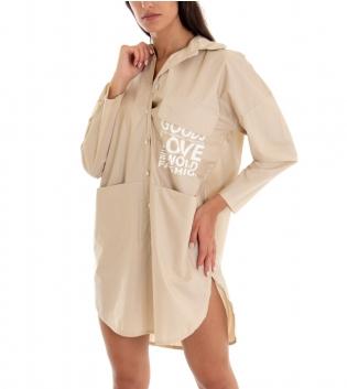 Camicia Donna Vestito Maxi Over Tinta Unita Beige Scritta Colletto GIOSAL-Beige-TAGLIA UNICA