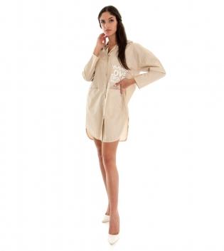 Camicia Donna Vestito Maxi Over Tinta Unita Beige Scritta Colletto GIOSAL