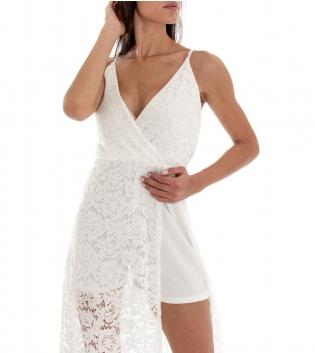 Vestito Donna Lungo Spalline Scollo a V Macrame Tinta Unita Bianco GIOSAL