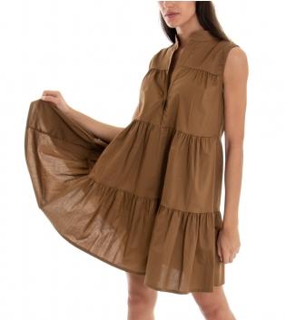 Vestito Donna Corto Tinta Unita Camel Balze Collo Coreano Giromaniche GIOSAL