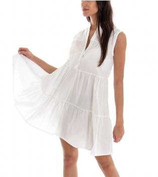 Vestito Donna Corto Tinta Unita Bianco Balze Collo Coreano Giromaniche GIOSAL