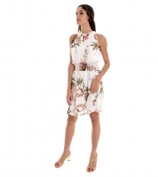Vestito Donna Corto Fondo Bianco Fantasia Floreale Elastico GIOSAL