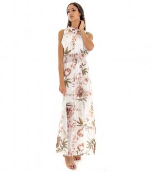 Vestito Donna Lungo Fondo Bianco Fantasia Floreale Elastico GIOSAL