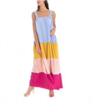 Vestito Donna Lungo Multicolore Spalline Elastico GIOSAL