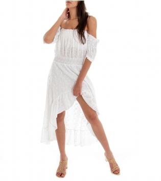 Vestito Donna Lungo Sangallo Tinta Unita Bianco Spalle Scoperte GIOSAL