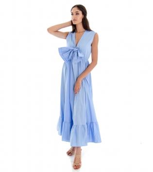 Vestito Donna Lungo Tinta Unita Azzurro Giromaniche Fiocco Elastico GIOSAL