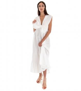 Vestito Donna Lungo Tinta Unita Bianco Giromaniche Fiocco Elastico GIOSAL