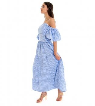 Vestito Donna Lungo Quadretti Azzurro Maniche Sbuffo Spalle Scoperte GIOSAL