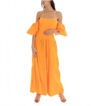 Vestito Donna Lungo Tinta Unita Arancio Maniche Sbuffo Spalle Scoperte GIOSAL