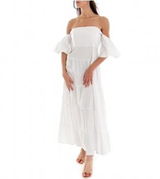 Vestito Donna Lungo Tinta Unita Bianco Maniche Sbuffo Spalle Scoperte GIOSAL