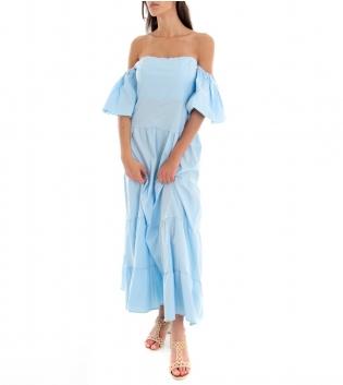 Vestito Donna Lungo Tinta Unita Azzurro Maniche Sbuffo Spalle Scoperte GIOSAL
