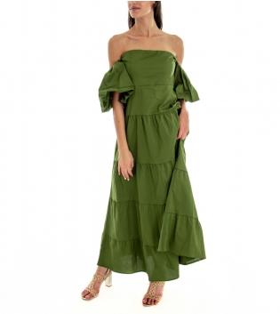Vestito Donna Lungo Tinta Unita Verde Maniche Sbuffo Spalle Scoperte GIOSAL-Verde-S