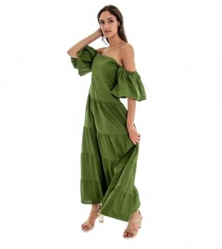 Vestito Donna Lungo Tinta Unita Verde Maniche Sbuffo Spalle Scoperte GIOSAL