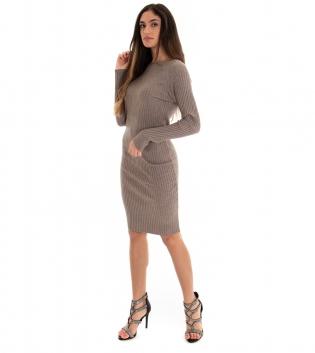 Vestito Lungo Donna Costine Tinta Unita Fango Aderente Casual GIOSAL