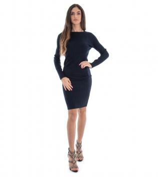 Vestito Lungo Donna Costine Tinta Unita Blu Aderente Casual GIOSAL