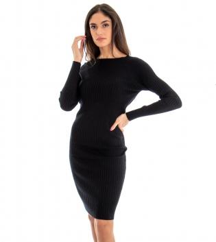 Vestito Lungo Donna Costine Tinta Unita Nero Aderente Casual GIOSAL