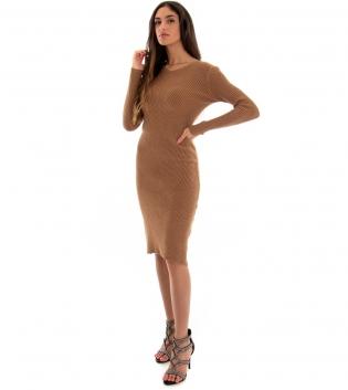 Vestito Donna Costine Tinta Unita Camel Aderente Casual GIOSAL
