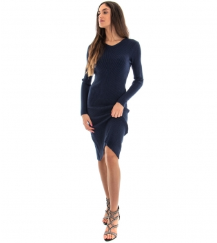 Vestito Donna Costine Tinta Unita Blu Aderente Casual GIOSAL