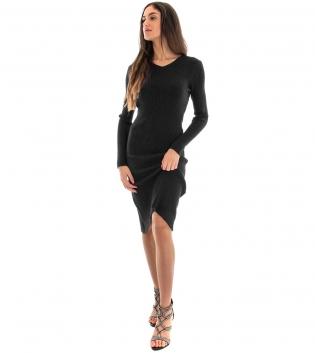 Vestito Donna Costine Tinta Unita Nero Aderente Casual GIOSAL