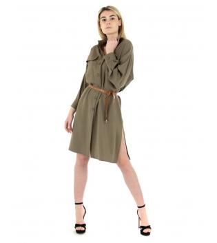 Vestito Donna Tinta Unita Verde Vestitino Eiki Casual Colletto Maniche Lunghe GIOSAL-Verde-S