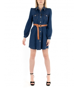 Vestito Donna Eiki Jeans Denim Scuro Vestitino Corto Blu Casual Colletto Camicia GIOSAL