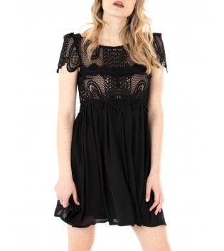 Vestito Donna Pizzo Manica Corta Tinta Unita Nero Elegante GIOSAL