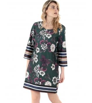 Vestito Donna Floreale Verde Maniche 3/4 Righe Multicolore GIOSAL