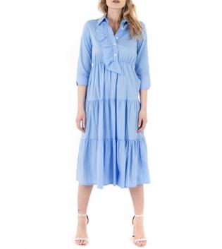 Vestito Donna Eiki Abito Lungo Azzurro Balze Volant Colant Maniche 3/4 GIOSAL