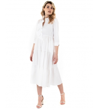 Vestito Donna Eiki Abito Lungo Bianco Balze Volant Colant Maniche 3/4 GIOSAL