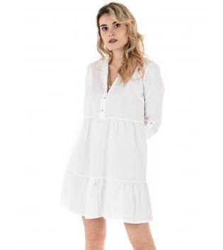 Vestito Donna Eiki Bianco Gonna a Balze Manica Risvolto Camicia GIOSAL