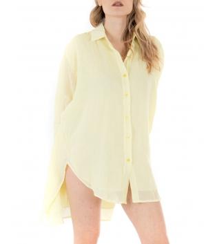 Vestito Donna Camicia Lunga Tinta Unita Giallo Colletto Maniche Lunghe GIOSAL