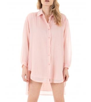 Vestito Donna Camicia Lunga Tinta Unita Rosa Colletto Maniche Lunghe GIOSAL