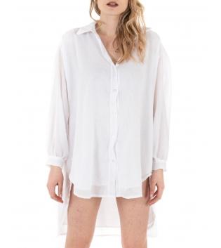 Vestito Donna Camicia Lunga Tinta Unita Bianco Colletto Maniche Lunghe GIOSAL