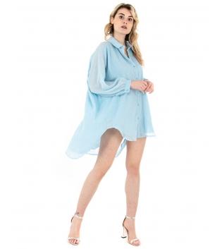 Vestito Donna Camicia Lunga Tinta Unita Celeste Colletto Maniche Lunghe GIOSAL