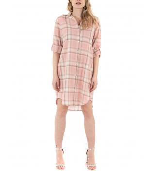 Vestito Donna Camicia Quadri Rosa Colletto Casual GIOSAL