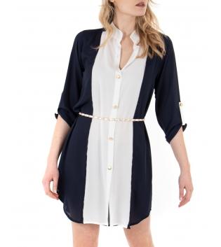 Vestito Donna Bicolore Camicia B Bianco Colletto Casual GIOSAL