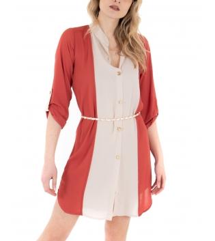 Vestito Donna Bicolore Camicia Rosso Bianco Colletto Casual GIOSAL