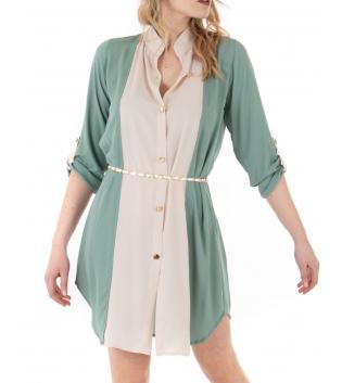Vestito Donna Bicolore Camicia Verde Acqua Bianco Colletto Casual GIOSAL