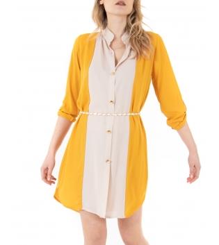 Vestito Donna Bicolore Camicia Giallo Bianco Colletto Casual GIOSAL