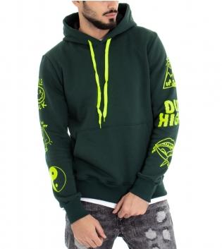 Felpa Uomo Cappuccio con Coulisse Verde Tasca a Marsupio Stampa Fluo Felpata Cotone GIOSAL