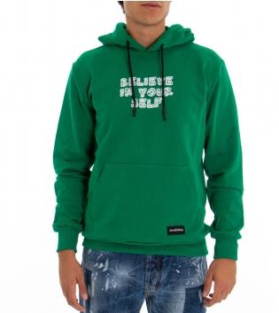 Felpa Uomo Black Svnday Tinta Unita Verde Stampa Tasche Cappuccio GIOSAL-Verde-M